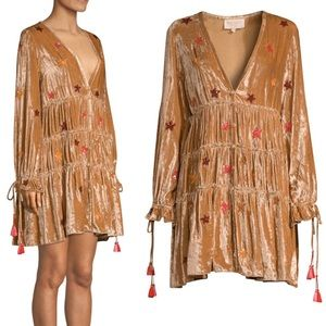 Rococo Sand Velvet Stars Sequin Peasant Dress